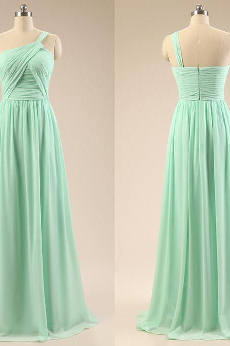 One Shoulder Bridesmaid Dresses with Soft Pleats, Chiffon Bridesmaid Gowns, Vintage Sage Bridesmaid Dresses, #01012793
