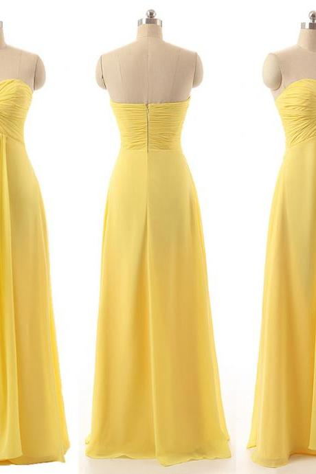 Yellow Sweetheart Bridesmaid Dresses, Flowing Chiffon Gown for Bridesmaid, Floor-length Bridesmaid Dresses, #01012794