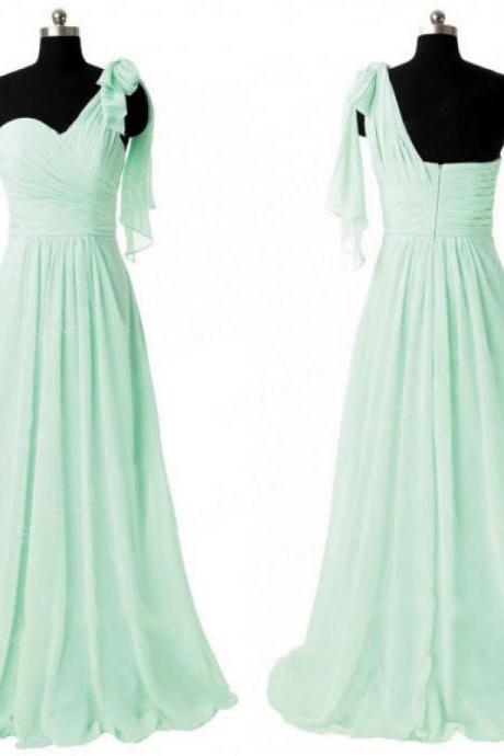 One Shoulder Bridesmaid Dress with Ruffles, Sage Green Bridesmaid Dresses, Best Chiffon Bridesmaid Dresses with Soft Pleats, #01012805