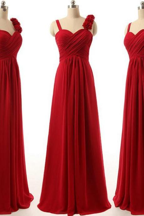 A-line Red Bridesmaid Dresses with Handmade Flowers, Wholesale Long Bridesmaid Gowns, Sweetheart Chiffon Dresses for Bridesmaid, #01012808