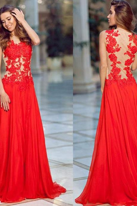 Illusion Prom Dresses, Red Floral Lace Prom Dresses, Chiffon Prom Dresses with See-through Back, #02017427