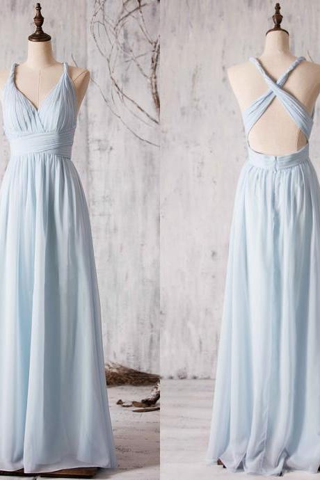 V-Neck Ruched A-line Evening Dress, Bridesmaid Dress Featuring Crisscross Back