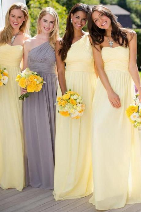 Yellow A-line Chiffon Bridesmaid Dresses, Daffodil Bridesmaid Dress with Ruching Detail, Sweetheart One Shoulder Gown for Bridesmaid, #01012806