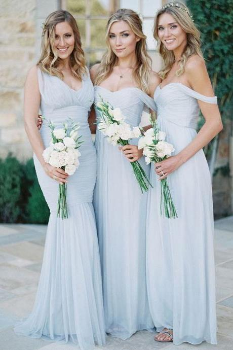 Off-the-shoulder Bridesmaid Dresses with Ruching Detail, Modern A-line Bridesmaid Dress, Long Bridesmaid Gowns, #01012810
