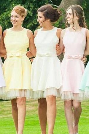 Rainbow Bridesmaid Dresses, Open Back Scoop Neck Bridesmaid Dress, Cute Mini Bridesmaid Dress with Sweet Bows, #01012816