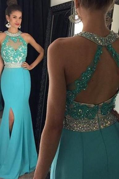 Open Back Prom Dresses, Beaded Halter Prom Dress with Front Split, Blue Mermaid Chiffon Prom Dresses, #020102056