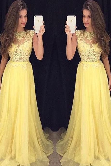 Daffodil High Neck Prom Dresses, Long Chiffon Prom Dresses with Lace Appliques, See-through Prom Dress, #020102057