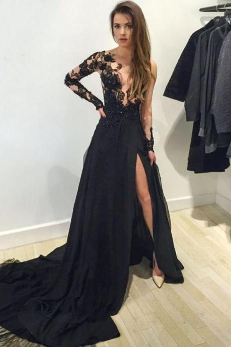 Beaded Plunge V-neck Prom Dresses, Black Evening Dress with Sexy Side Slit, One shoulder Long Sleeve Prom Dress, #020102059