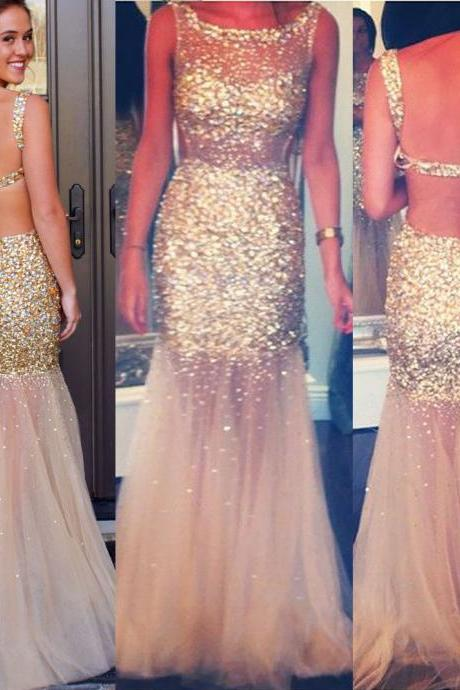 Champagne Backless Tulle Prom Dress, All over Gold Beaded Prom Dresses, Mermaid Prom Dresses, #02018678