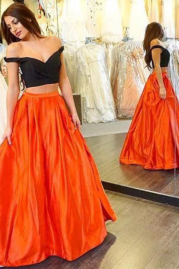 Two piece Orange Prom Dress, Off-the-shoulder Princess Prom Dress, Taffeta Crop Top Prom Dresses, #020102067