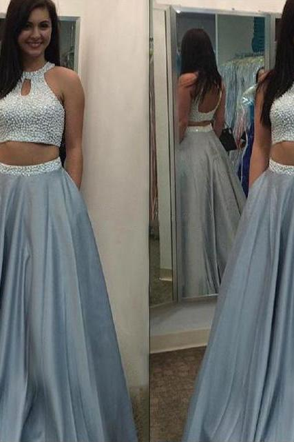 Halter Two Piece Prom Dress with Beaded Belt, Open Back Princess Prom Dresses, Pearl Beaded Prom Dresses, #020102075