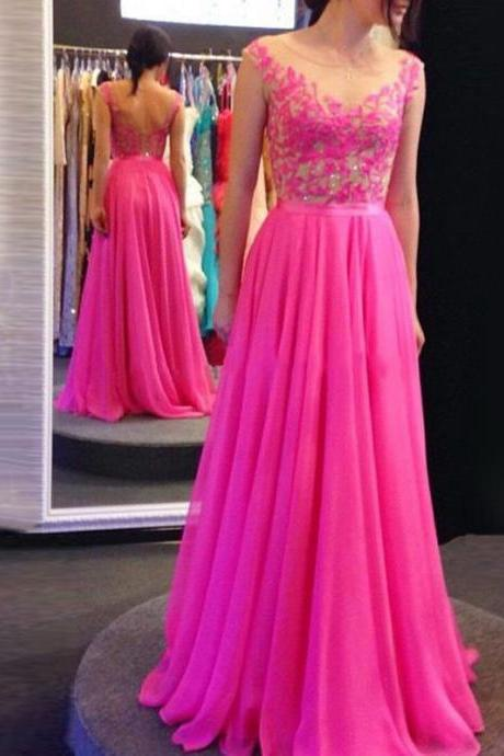 Fuchsia Boat Neck Prom Dresses, Illusion Lace Chiffon Prom Dresses, Backless Low Back Evening Dresses, #02018694