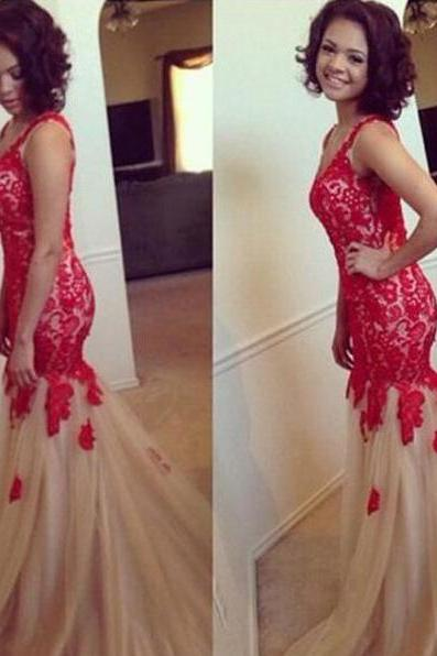 Tulle Prom Dress with Red Floral Lace, Mermaid V-neck Prom Dresses, Sleeveless Trumpet Prom Dresses, #02018799