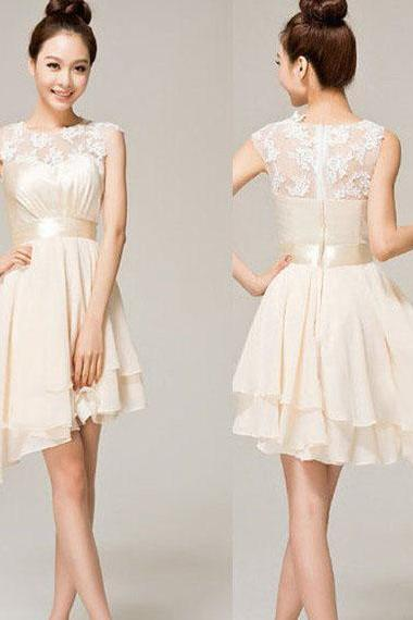 Asymmetrical Short Prom Dresses with Ribbon, Illusion Lace White Prom Dress with High Low Hem, High Low Prom Dresses, #02019743