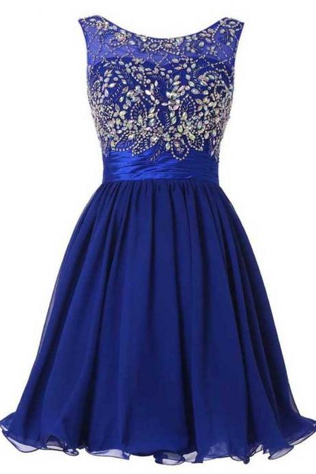 Illusion Royal Blue Homecoming Dress, Short Chiffon Homecoming Dress, Low Back Homecoming Dress with Beads and Crystal, #020102520
