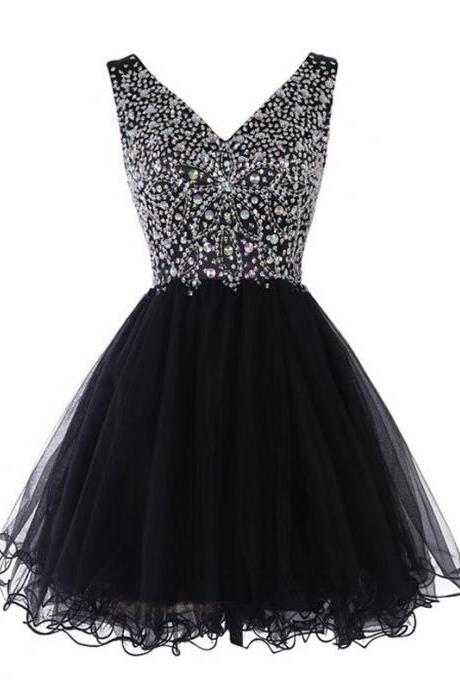 Princess V-neck Tulle Homecoming Dress, Black Crystal Short Homecoming Dress, Cute Mini Homecoming Dress with Pleats, #020102531