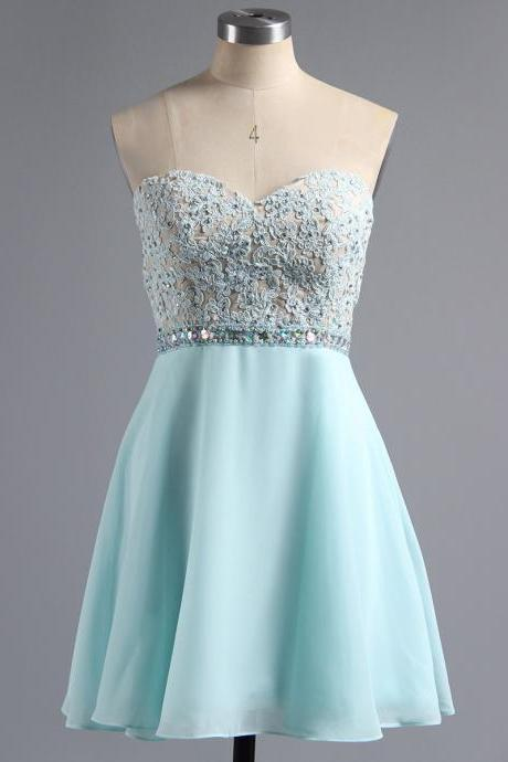 Custom Made Light Blue Sweetheart Neckline Floral Lace Applique Beaded Chiffon A-Line Short Cocktail Dress, Graduation Dress, Evening Dress, Homecoming Dress
