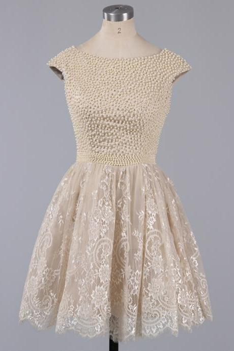Champagne Cap-Sleeve A-line Short Prom Dress with Lace Appliqués and Beaded Bodice