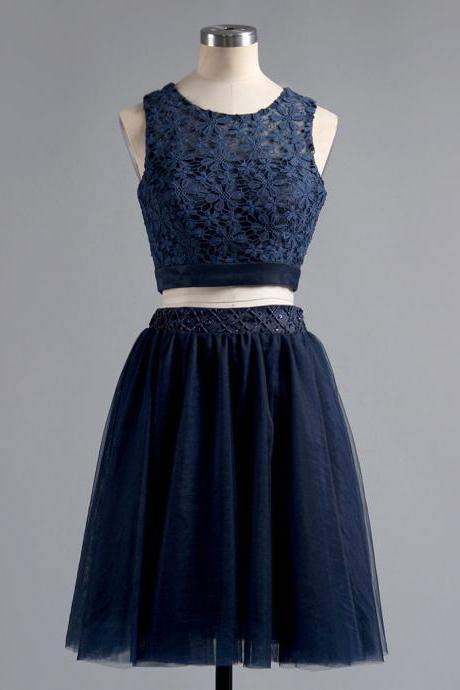 Dark Navy Two Piece Homecoming Dresses, A-line Scoop Neck Lace Homecoming Dress, Tulle Crop Top Homecoming Dresses with Beaded Belt, #020101441