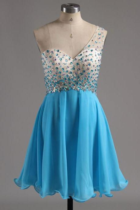 One Shoulder A-line Chiffon Homecoming Dresses, Blue Beaded Backless Homecoming Dresses, Discounted Asymmetric Homecoming Dresses, #020101759