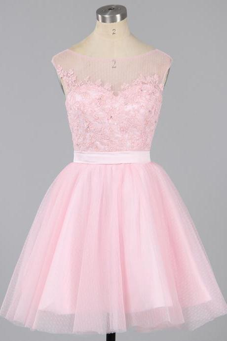Pink Cap Sleeve Homecoming Dresses, Girls A-line Homecoming Dresses, Illusion Neck Tulle Homecoming Dresses with Romantic Lace Appliques, #020101913