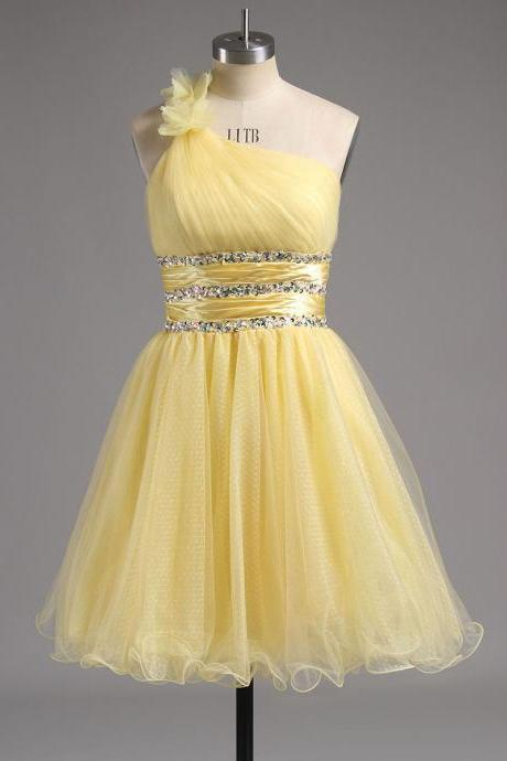 Princess Light Yellow Short Homecoming Dress, Asymmetric Tulle Homecoming Dress with Beaded Ribbon, Floral One Shoulder Homecoming Dress, #02013242