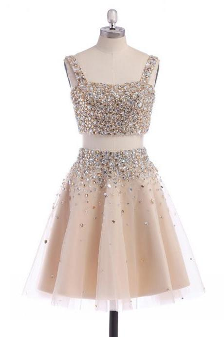 Square Neck Tulle Short Homecoming Dress, Sweet Two Piece Champagne Homecoming Dress, Crop Top Crystal Mini Homecoming Dress, #02019194