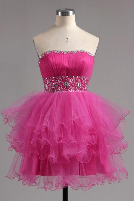 Strapless Pink Homecoming Dress with Beaded Belt, Empire Tulle Lace-up Homecoming Dress, Princess Royal Blue Mini Ruffles Homecoming Dress, #02041947