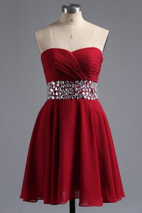 Sweetheart Red Short Homecoming Dress with Crystal Belt, Cute Sleeveless Chiffon Homecoming Dress, Elegant Empire Homecoming Dress, #02041948