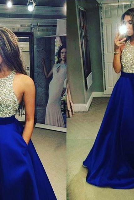 Sparkling Crystal Beaded Halter Top Tulle Prom Dress, Backless Royal Blue Long Satin Prom Dress, Sleeveless Low Back Ball Gown Prom Dress, #020102391