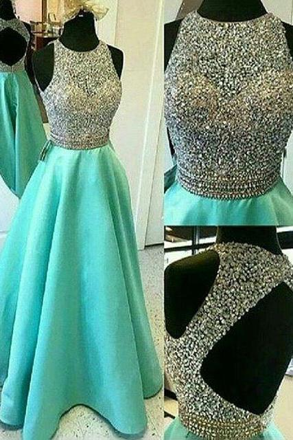 Princess Sleeveless Jewel Neck Satin Prom Dress, Light Green Long Prom Dress with Key Hole Back, Sparkling Crystal Beaded Tulle Prom Dress, #020102392