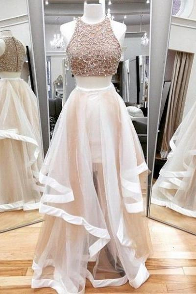 Jewel Neck Ivory Two Piece Prom Dress, Sparkling Beaded Floor Length Tulle Prom Dress, Elegant A-line Crop Top Sleeveless Prom Dress, #020102393