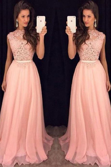 High Neck A Line Chiffon Prom Dress, Pink Tulle Long Prom Dress with Sweep Train, Elegant Sequins Lace Appliques Prom Dress with a Ribbon, #020102396