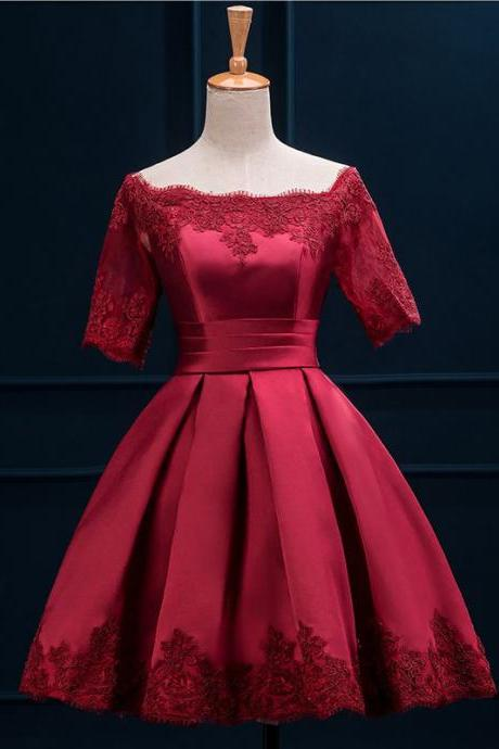 Off the Shoulder Red Satin Prom Dress with half Sleeves, Short Lace-up Prom Dress with Lace Appliques, Princess Prom Dress with Pleats, #020102397