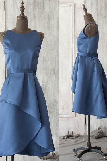 Vintage Horizon Blue Bridesmaid Dresses, Modest Scoop Neck Bridesmaid Dress with a Ribbon, Pretty Knee-length Satin Bridesmaid Dresses, #01012521