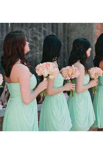 Sage Bridesmaid Dresses with Ruched Bust, Cute Sweetheart Bridesmaid Dresses with Ruffles, Elegant Short Chiffon Bridesmaid Dresses, #01012575