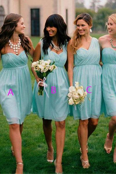 Trendy Convertible Bridesmaid Dresses, Popular Sky Blue Sweetheart Bridesmaid Dresses, Short Chiffon One-shoulder Bridesmaid Dress, #01012563