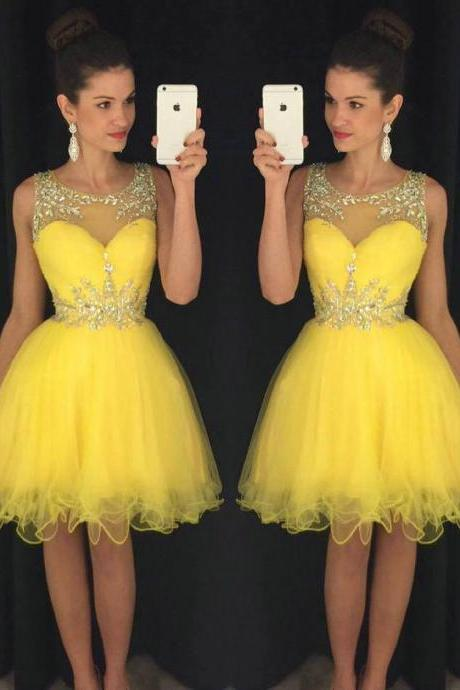 Bateau Neck Yellow Short Prom Dress, Sweet Illusion A-line Tulle Mini Prom Dress, Elegant Sleeveless Ruffles Prom Dress with Beads, #020102402