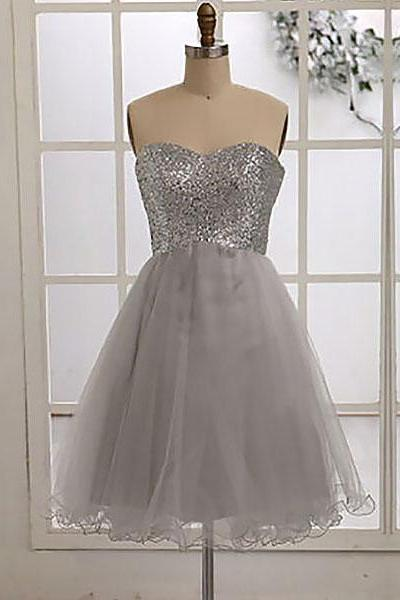 Short Silver Bridesmaid Dress with allover Beaded Bodice, Glittering Sequined Bridesmaid Dresses, Cheap Sweetheart Tulle Bridesmaid Dress, #01012186