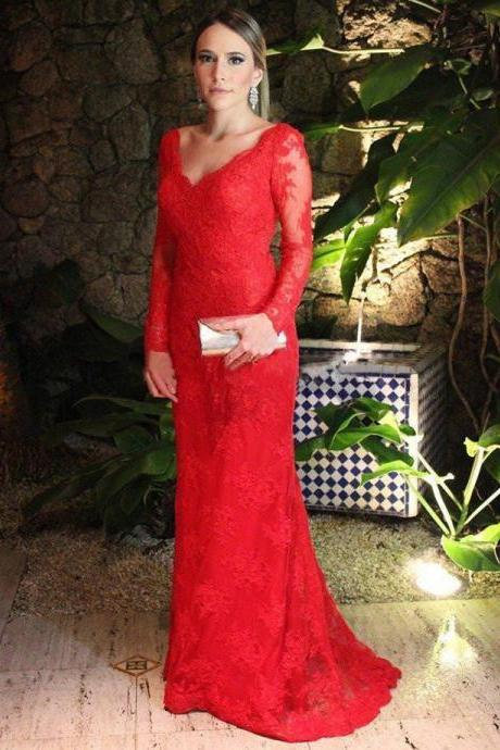 Elegant Long Sleeved Red Sheath Prom Dress, See-through Lace Floor Length Backless Prom Dress with Sweep Train, Sexy Open Back Prom Dress, #020102408