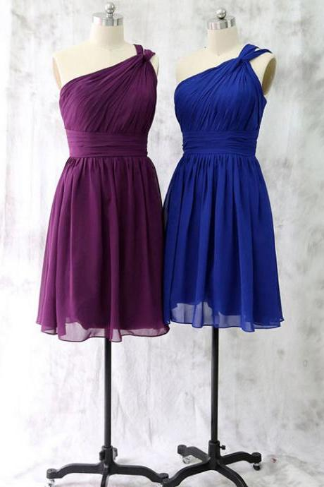 Purple One Shoulder Bridesmaid Dress, Latest Short Royal Blue Bridesmaid Dress, Asymmetric Chiffon Bridesmaid Dress with Ruching Detail, #01012528