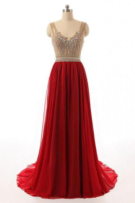 Hot Red Long Prom Dresses with Sweep Train, A-line Tulle Prom Dresses with Golden Beads, Latest See-through Chiffon Prom Dress, #020102416
