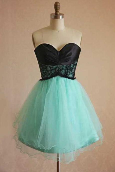 Sweetheart Two Toned Bridesmaid Dresses, Mint Green Bridesmaid Dress with Black Lace Bodice, A-line Bridesmaid Dresses with a self-tie Sash, #01012444