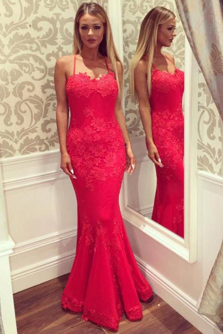Sexy Spaghetti Straps Prom Dress with Crisscross Back, Hot Red Trumpet Sweetheart Prom Dresses, Elegant Low Back Lace Prom Dresses, #020102434