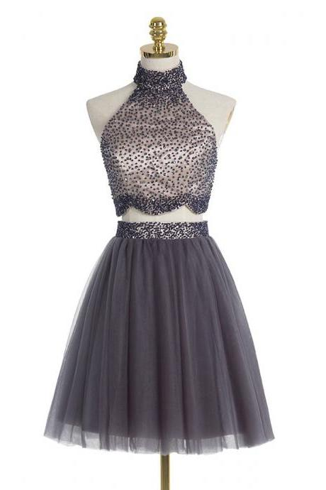 Gray High Neck Two Piece Prom Dresses, allover beaded A-line Prom Dresses with beaded Belt, Trendy Mini Homecoming Dresses with Full Back, #020102430