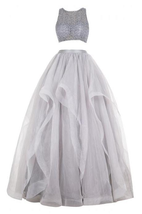 Gray Two-Piece Beaded Long Prom Dress with Horsehair Flounced Skirt