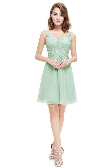 Elegant Sweetheart Bridesmaid Dresses with Straps, Cute Chiffon Bridesmaid Gowns, Short Sage Bridesmaid Dresses with Ruching Detail, #01012724