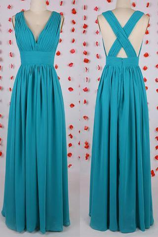 Wholesale Plunging V-neck Bridesmaid Dress, Blue Chiffon Bridesmaid Dress with Crisscross Back, A-line Bridesmaid Dresses, #01012549