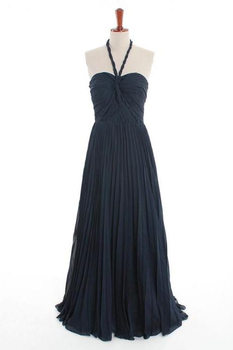 Dark Navy Bridesmaid Dress with Ruched Bust, Halter Flowy Chiffon Bridesmaid Dresses, Inexpensive Bridesmaid Dresses, #01012600