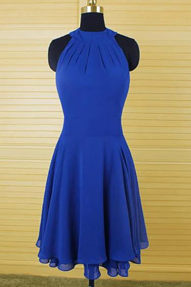 Jewel Neck Bridesmaid Dresses with Ruching Detail, Sleeveless Column Chiffon Bridesmaid Gowns, Latest Royal Blue Bridesmaid Dress, #01012543